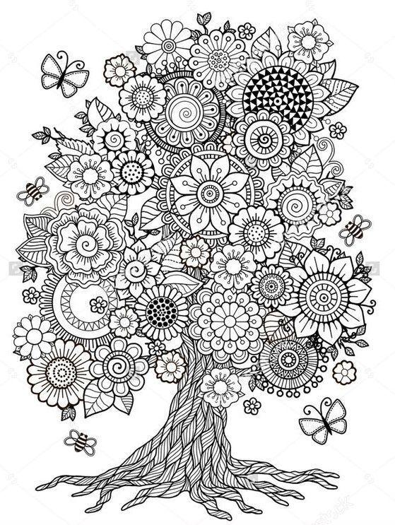 Flower Tree Printable Coloring Page Mandala Coloring Pages Coloring Books Mandala Coloring