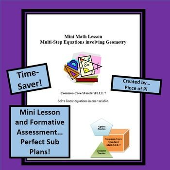 Sub Plans Multi Step Equations in Geometry Equation, Algebra and - resume 30 second test