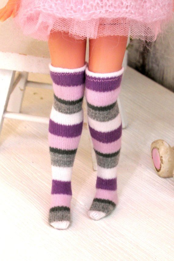 pink strips Footless Handcrafted leggings tight stocking for Blythe
