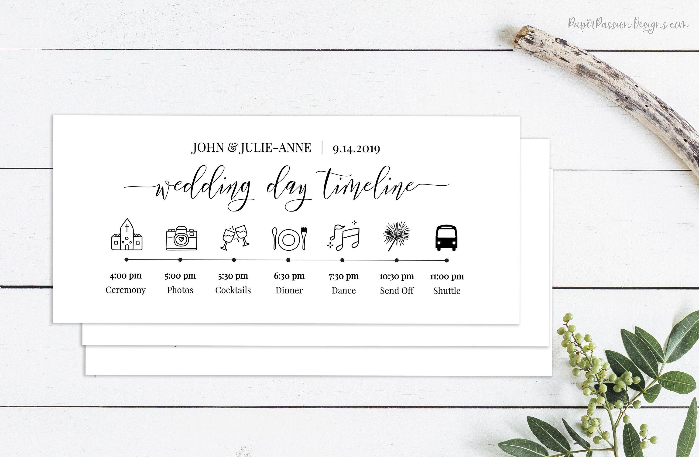 Wedding Timeline Minimalist Printable Timeline Wedding