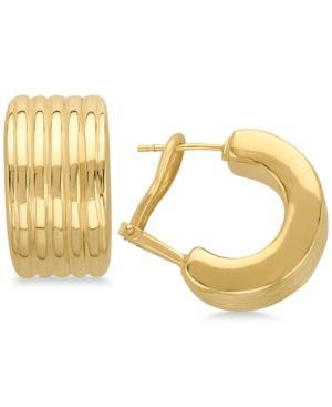 Ridged Huggie Hoop Earrings In 14k Gold Gold Products