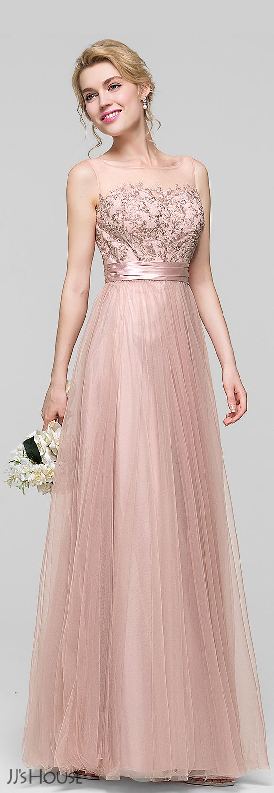 A-Line/Princess Scoop Neck Floor-Length Tulle Bridesmaid Dress With ...