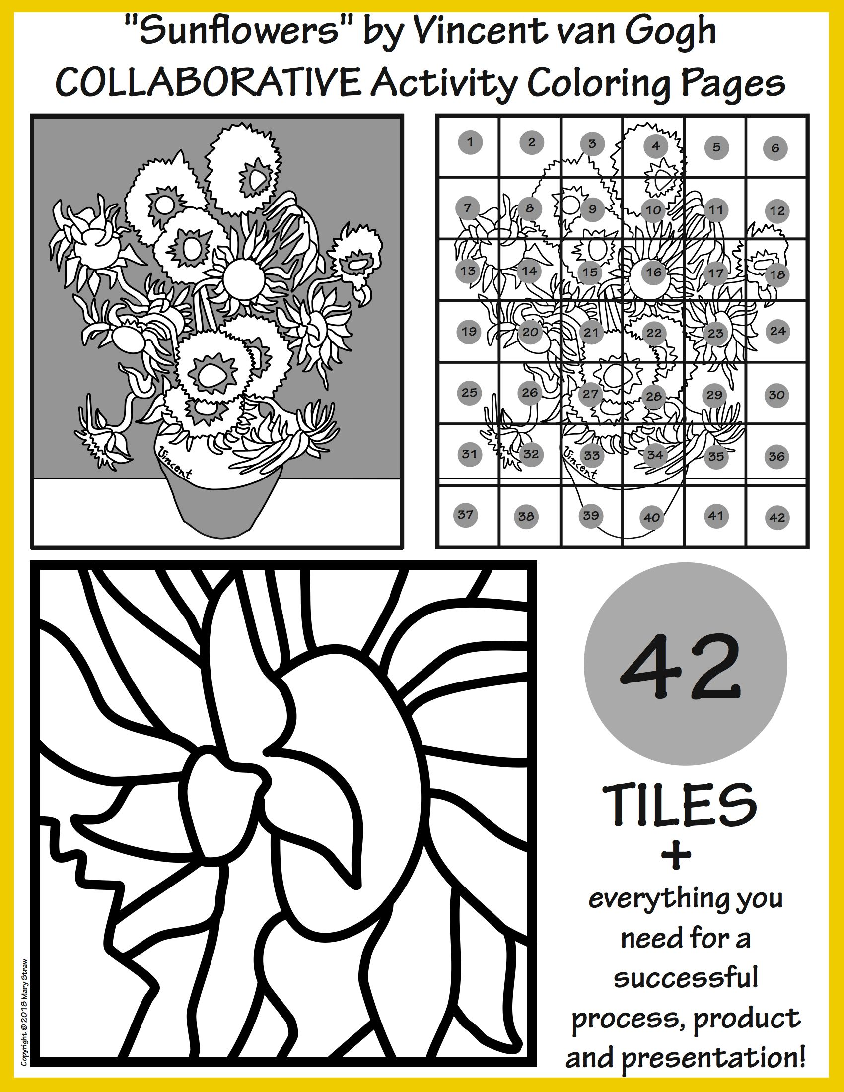 Sunflowers By Van Gogh Collaborative Activity Coloring