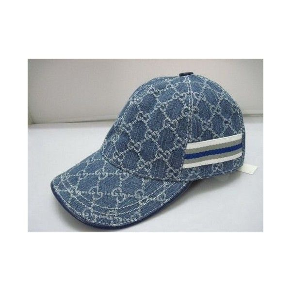 70736ee004c Baseball cap en Denim par Gucci ❤ liked on Polyvore featuring accessories