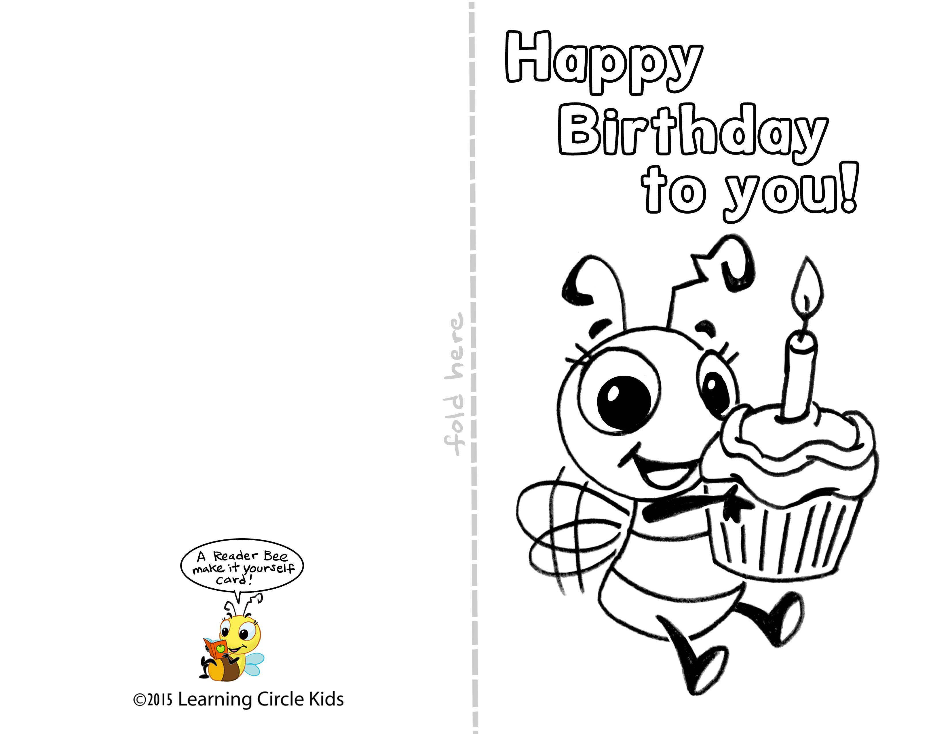 Diy Free Printable Birthday Card For Kids To Decorate And Write