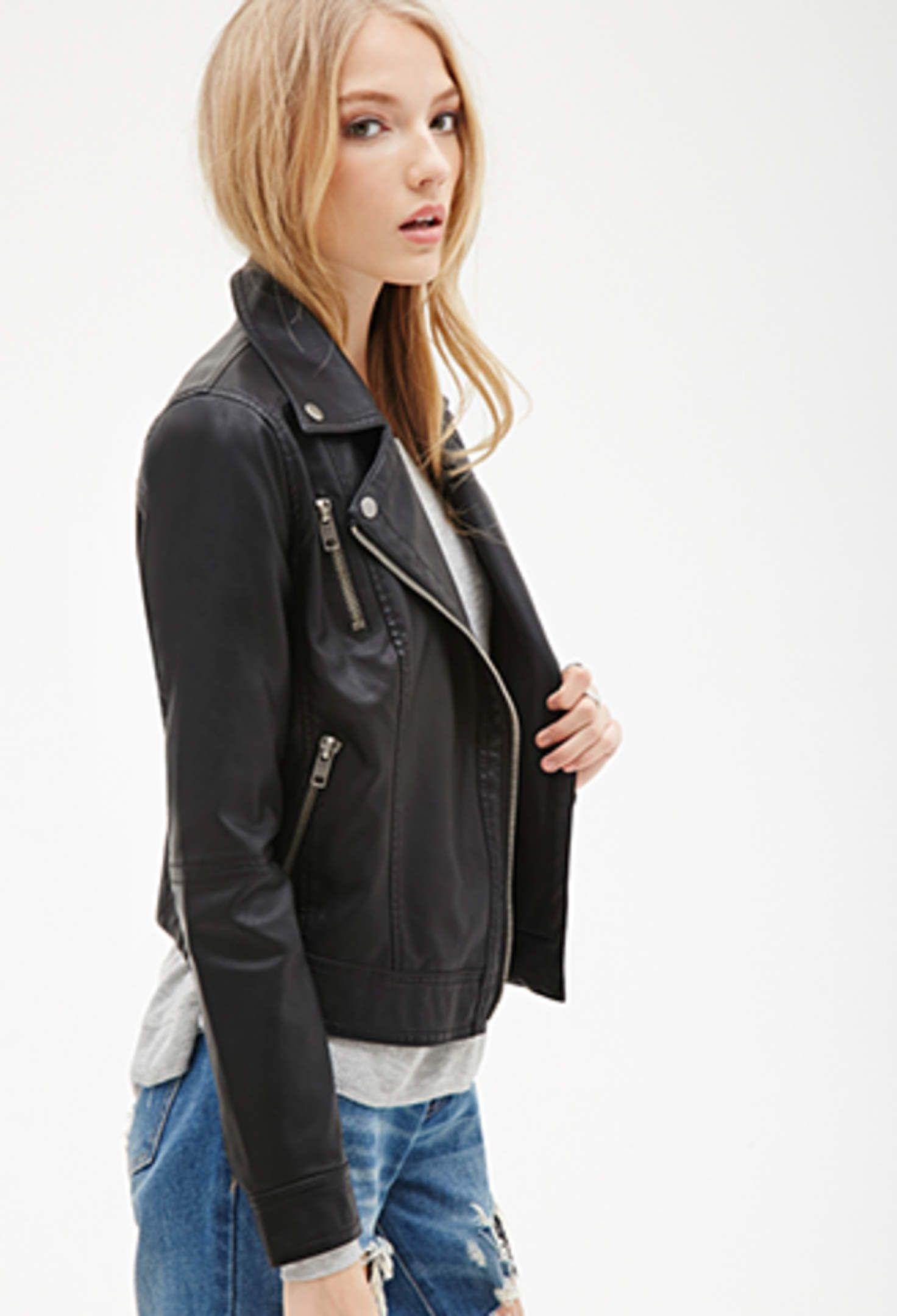 Zippered Faux Leather Moto Jacket Vegan leather moto