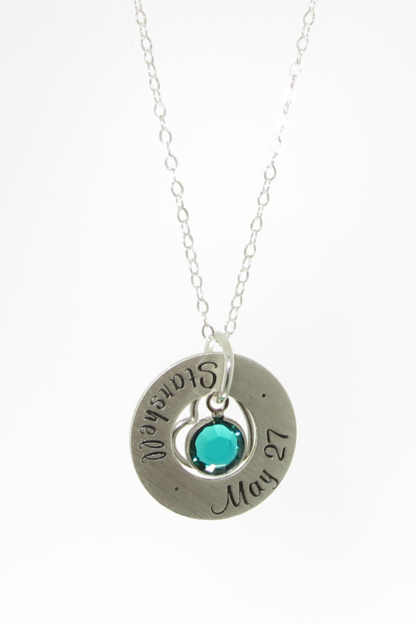 This is a wonderful GIFT idea for YOURSELF, Mothers, Grandmothers, Sisters, Aunts and Friends! The Sterling Silver Round Washer (3/4 inch Outside Diameter, 3/8 inch Inside Diameter) is hand stamped th