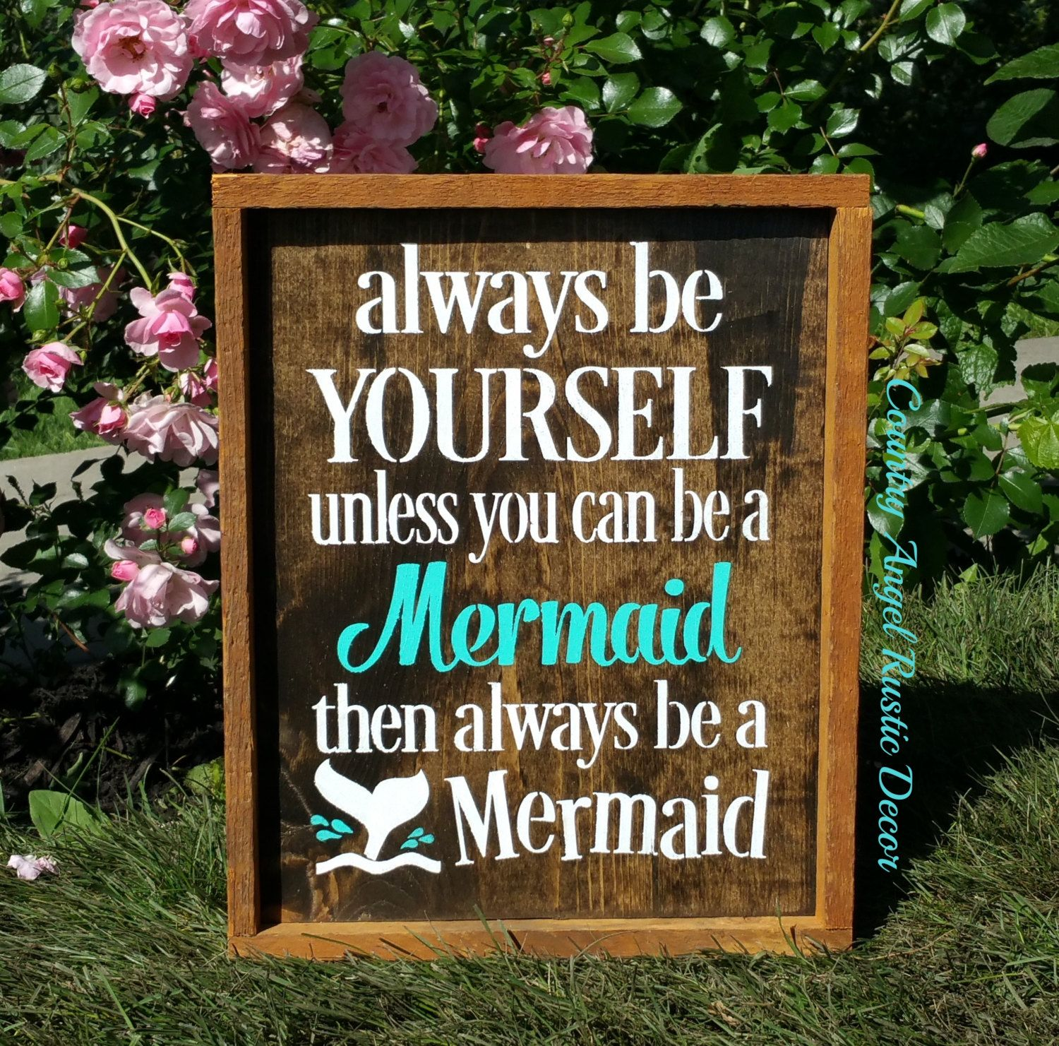 Always be Yourself-unless you can be a MERMAID-- Rustic Framed Mermaid Sign, Nautical bathroom, Girl's room , Nautical decor, Mermaid sign by CountryAngelRustic on Etsy #mermaidsign
