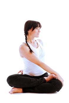 how to do revolved half lotus pose in yoga  get fit mind