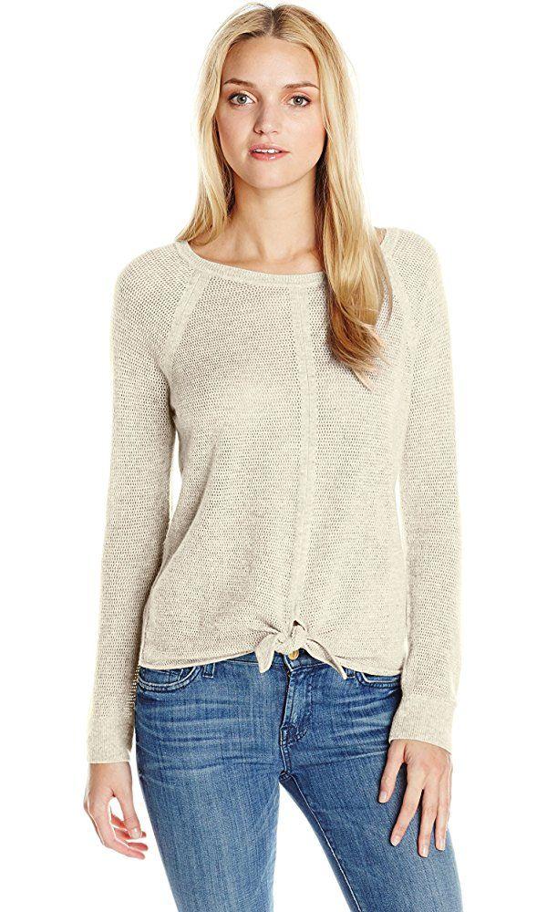 Splendid Women's Tie Front Cashmere Blend Sweater, Natural, Medium ...