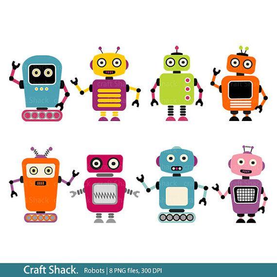 Robots Clipart 8 Png Files Etsy Robot Clipart Clip Art Robot