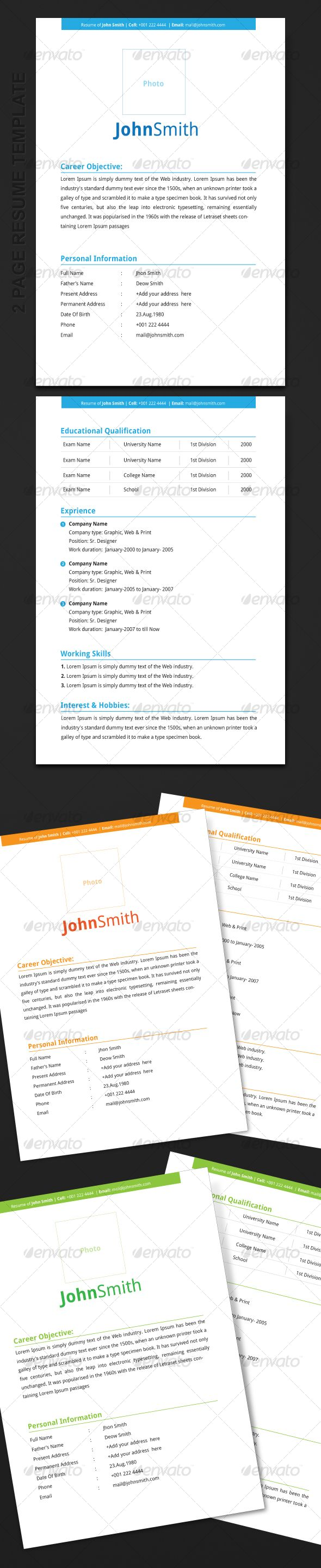 Page Resume Template  Adobe Illustrator Adobe And Fonts