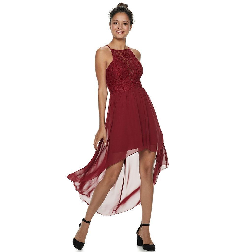 d36a2aeb971 Juniors  Speechless High-Low Glitter Lace Skater Dress