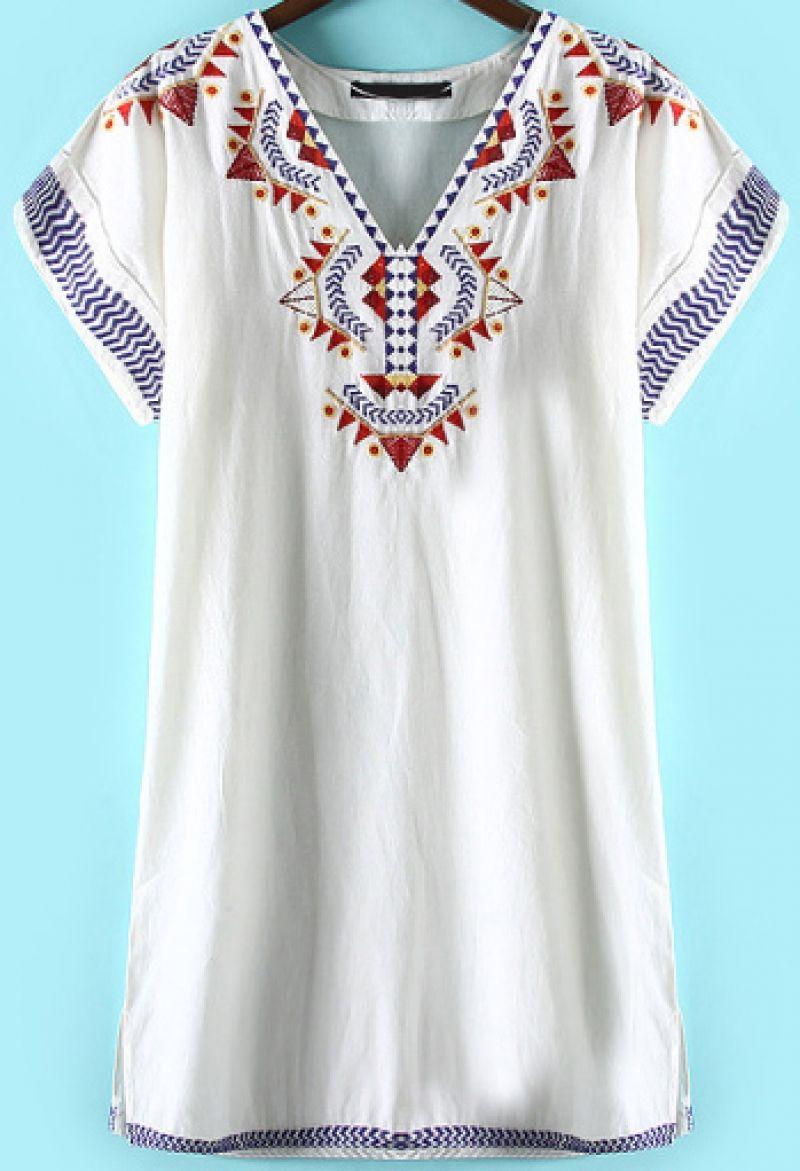 White V Neck Short Sleeve Embroidered Dress - abaday.com