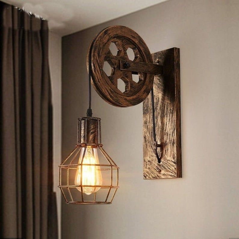 Wall Sconce Pulley Wall Lamp, Vintage Extendable W