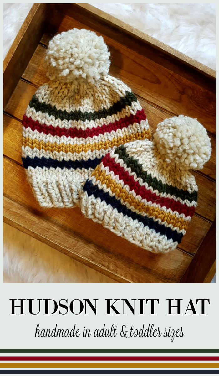 Hudson Knit Hat for toddlers and adults. Make lovely matching beanie gifts  for parents   child. So cute. Love the classic Hudson s Bay stripes and  colors! 712bb33ac6fb