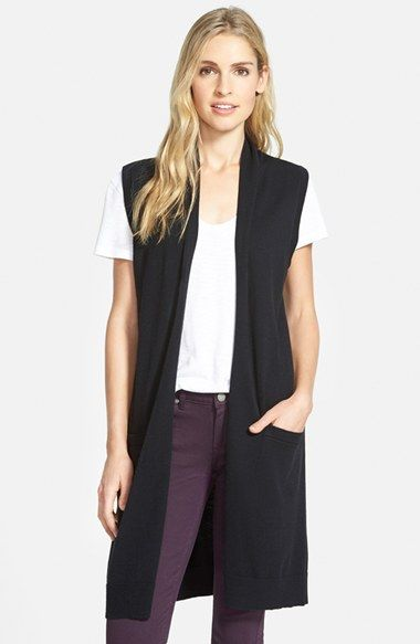 Halogen® Long Open Front Sweater Vest (Regular & Petite) available ...