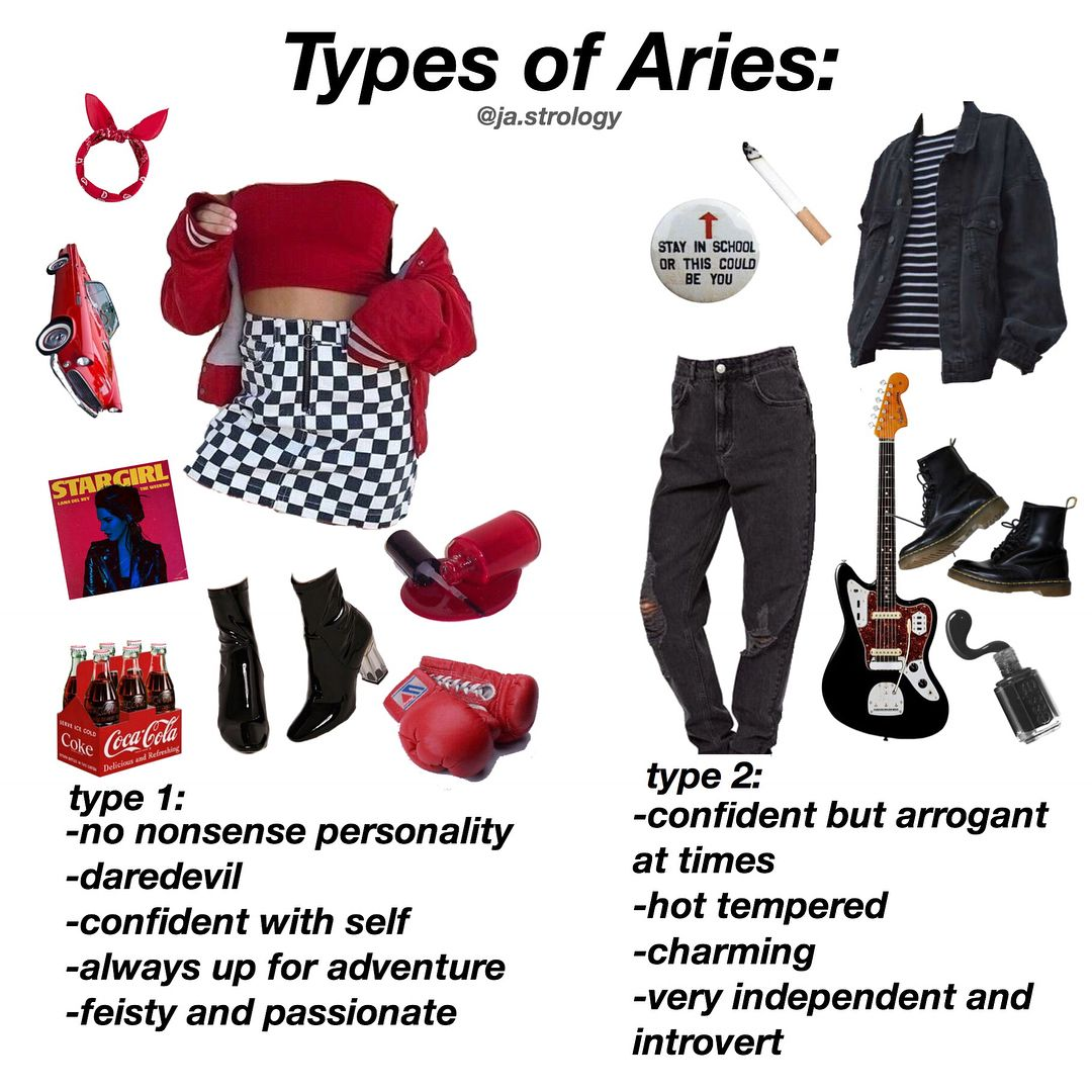 Comment Which Type You Relate To Like More The Four Types Of Aries Moodboard Follow Us Ja Strol Aesthetic Clothes Aries Outfits Zodiac Sign Fashion