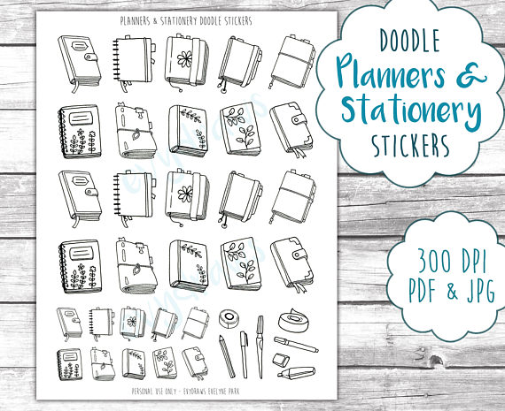 Planners & Stationery Doodle Stickers Printable ...