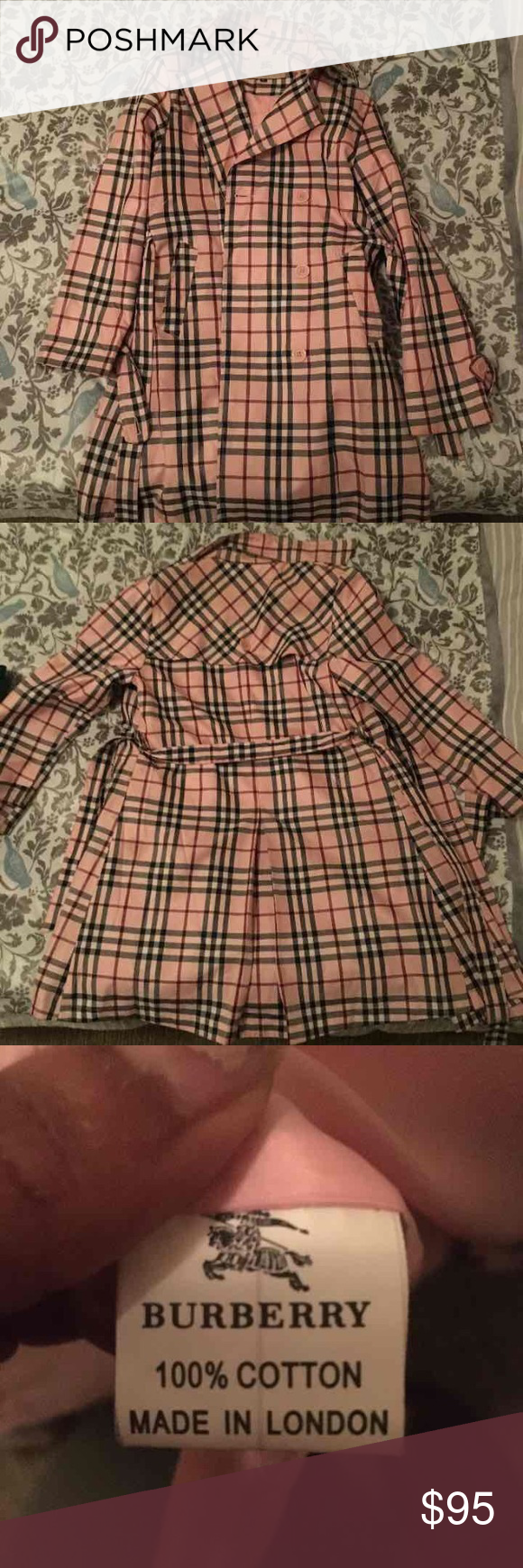 Pink Burberry Trench Super cute! Doesn't fit my waist anymore otherwise would keep. Says M but fits on the small size. Burberry Jackets & Coats Trench Coats