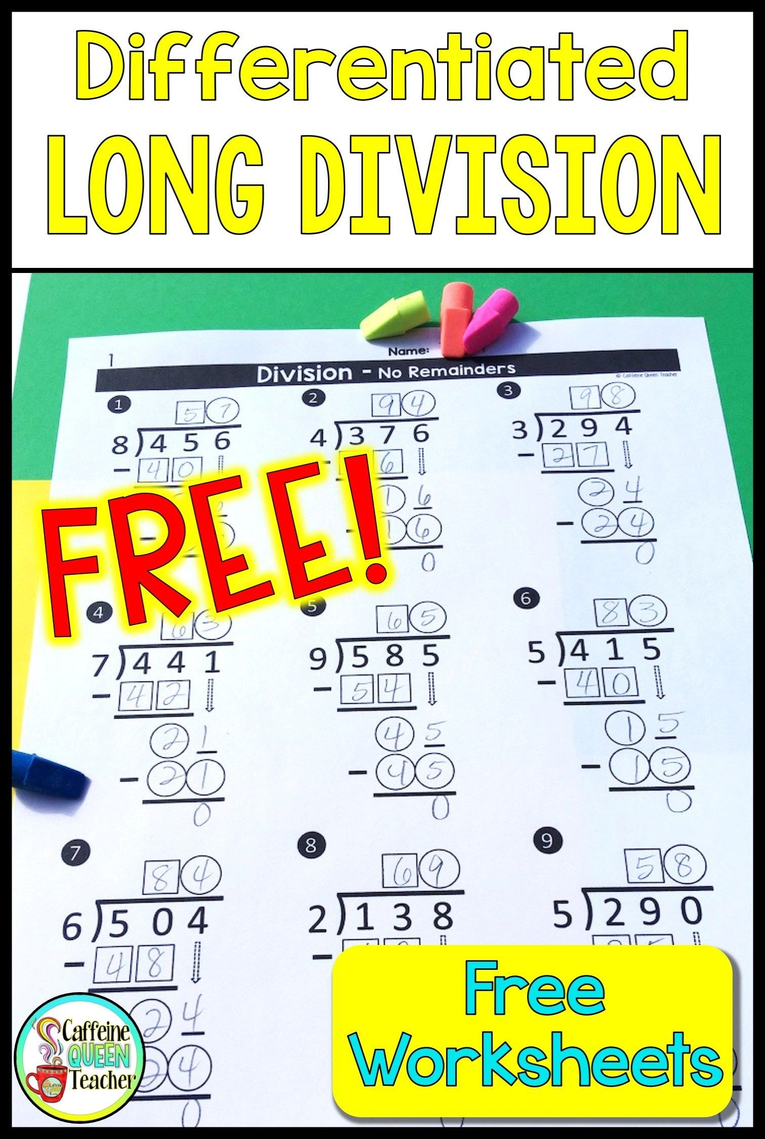 Long Division Worksheets Differentiated Free