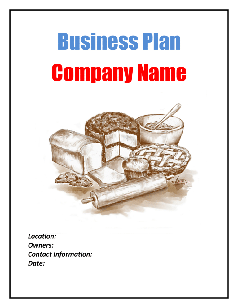 Bakery Business Plan Template Sample Pages Bakery
