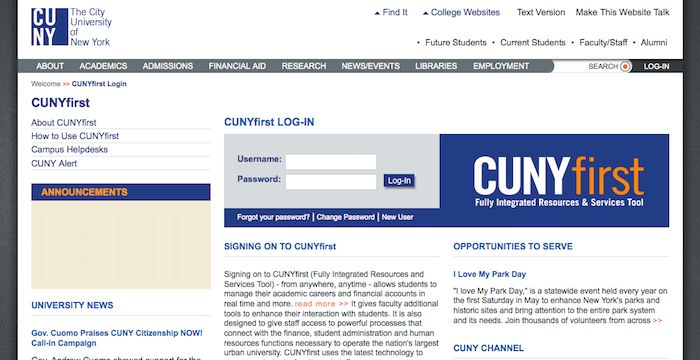 Cunyfirst Login Home Cunyfirst Cuny Edu Faculty And Staff Faculties Student