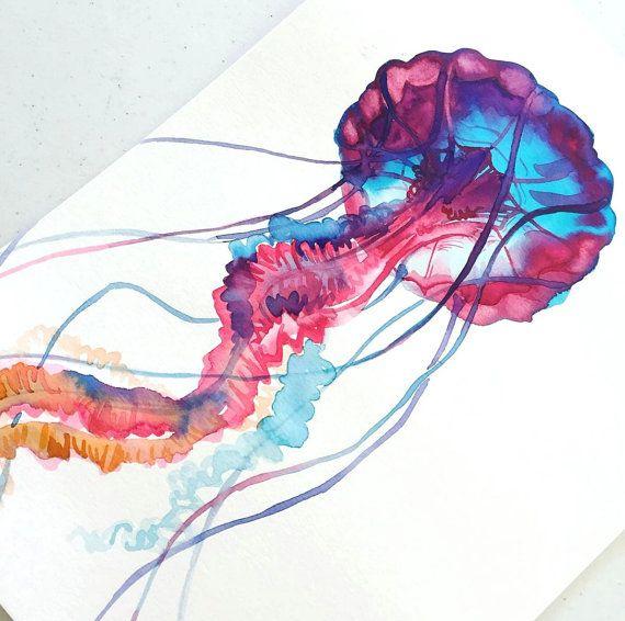 Blau Und Rosa Qualle Aquarell Druck Spass Bunte Von Thecolormaven