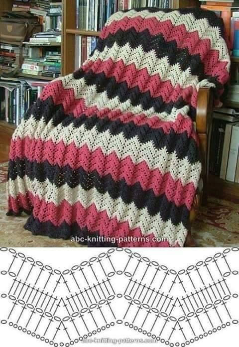 Crochet chevron blanket | patrones crochet | Pinterest | Manta ...