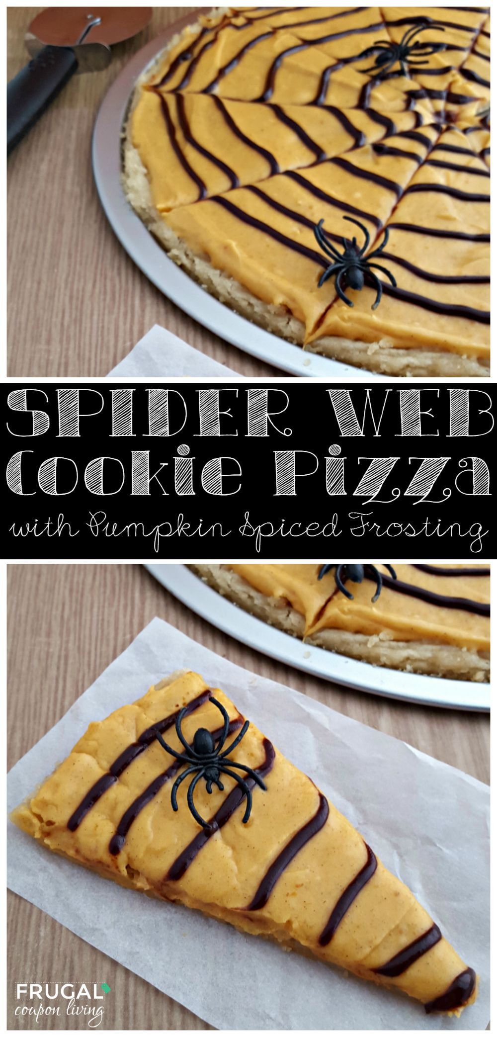 Pumpkin Spiced Spider Web Cookie Pizza on Frugal Coupon LIving. This is great for a school party idea, add spider rings to the web to give it a spooky touch!