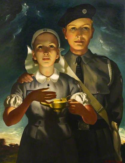 St John Ambulance Brigade Cadets, 1952, by Anna Katrina Zinkeisen (Scottish, 1901-1976).
