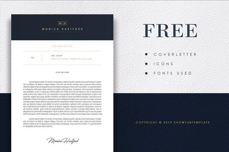 SALE 20 3 Pages Resume Template Elegant Dark Blue / CV