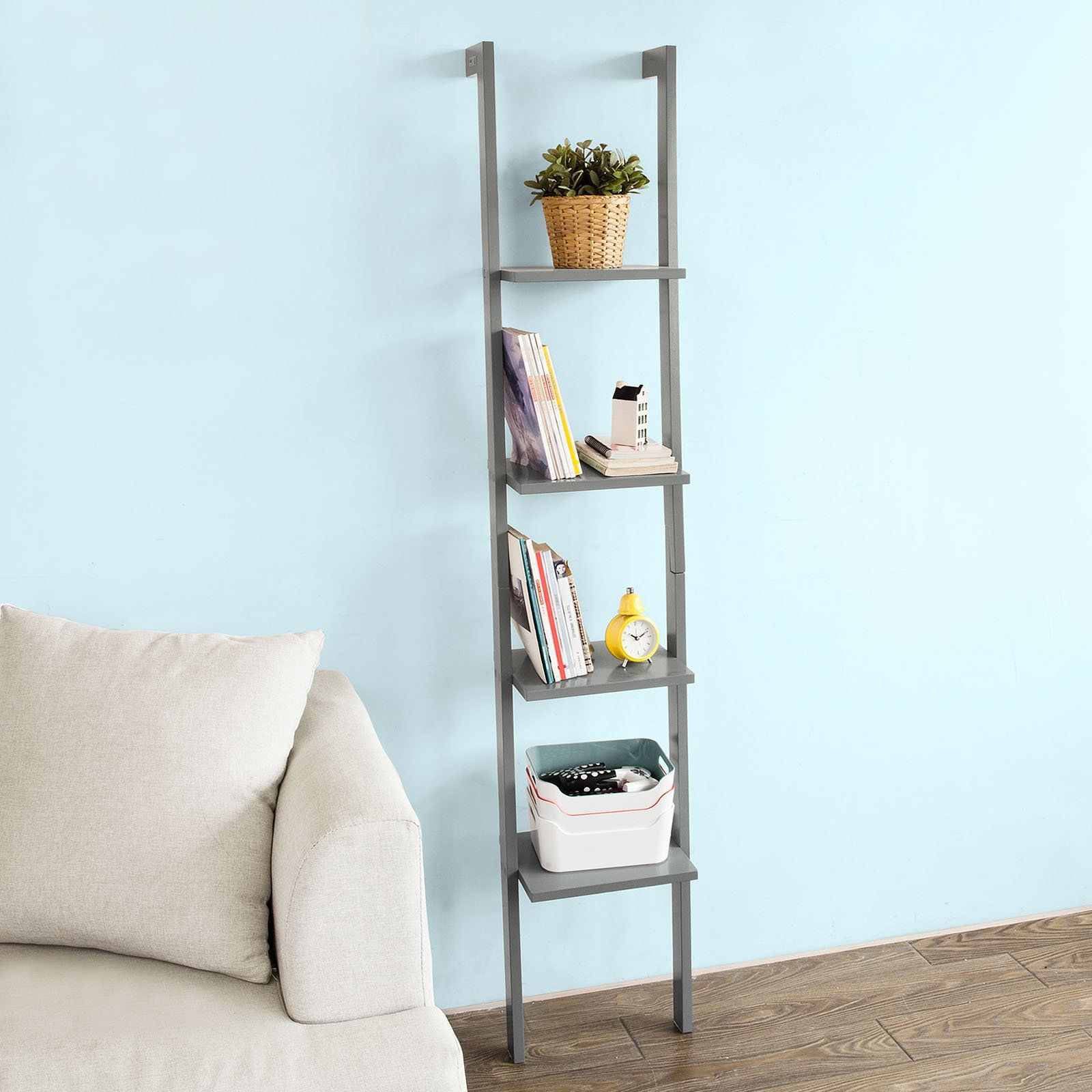 Sobuy modern ladder bookcase made of wood with four floorsbook