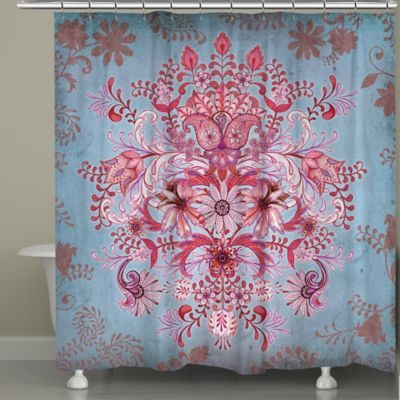 Laural Home Pink Kaleidoscope Shower Curtain Bohemian Shower