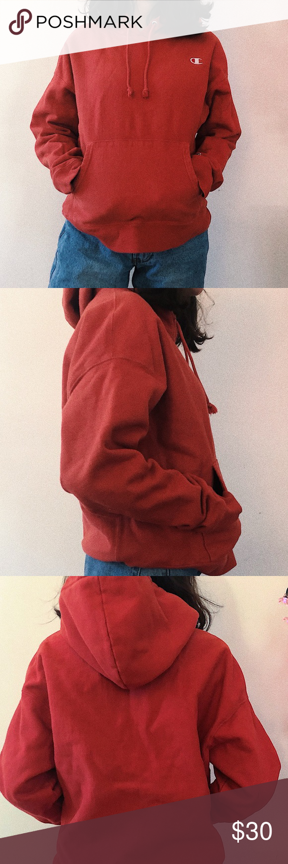 ☆ red CHAMPION hoodie ☆ Small, red/pink hoodie, CHAMPION Champion Other #championhoodie