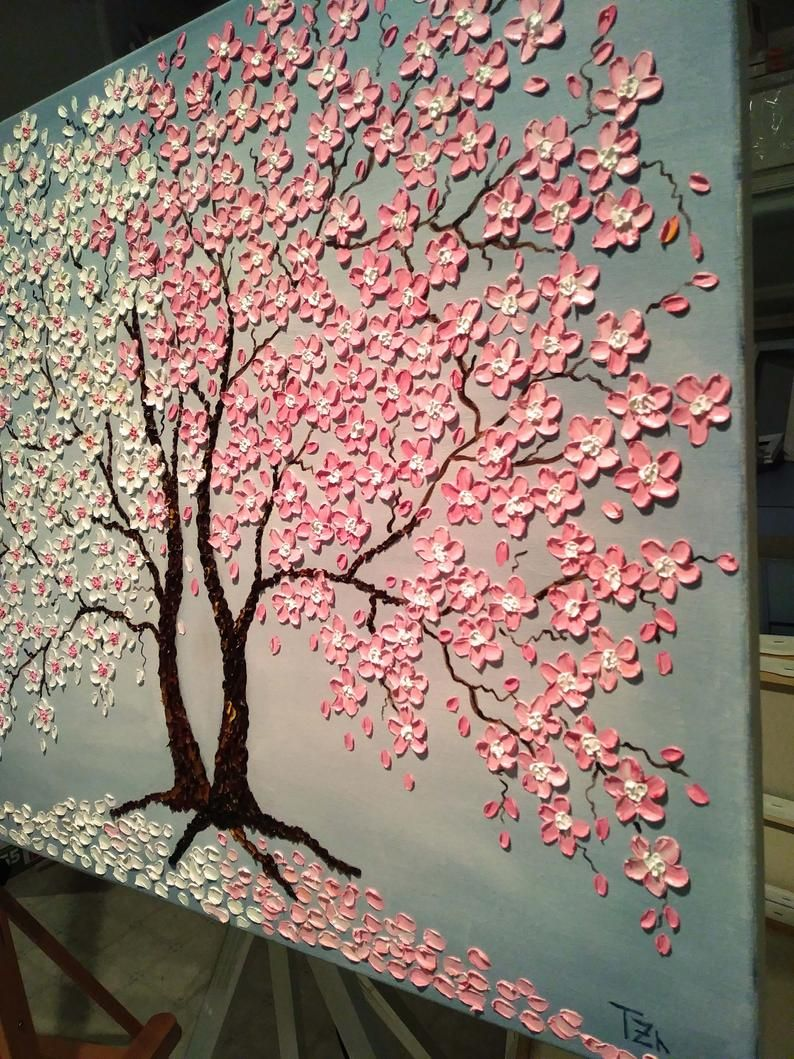 Cherry Blossom Tree Original Painting Oil Impasto Painting Canvas Painting Large Tree Painting Bedroom Wall Decor Above The Bed Wall Art Cherry Blossom Painting Acrylic Cherry Blossom Painting Tree Painting
