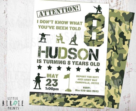 Camo Invitation Camouflage Birthday Party