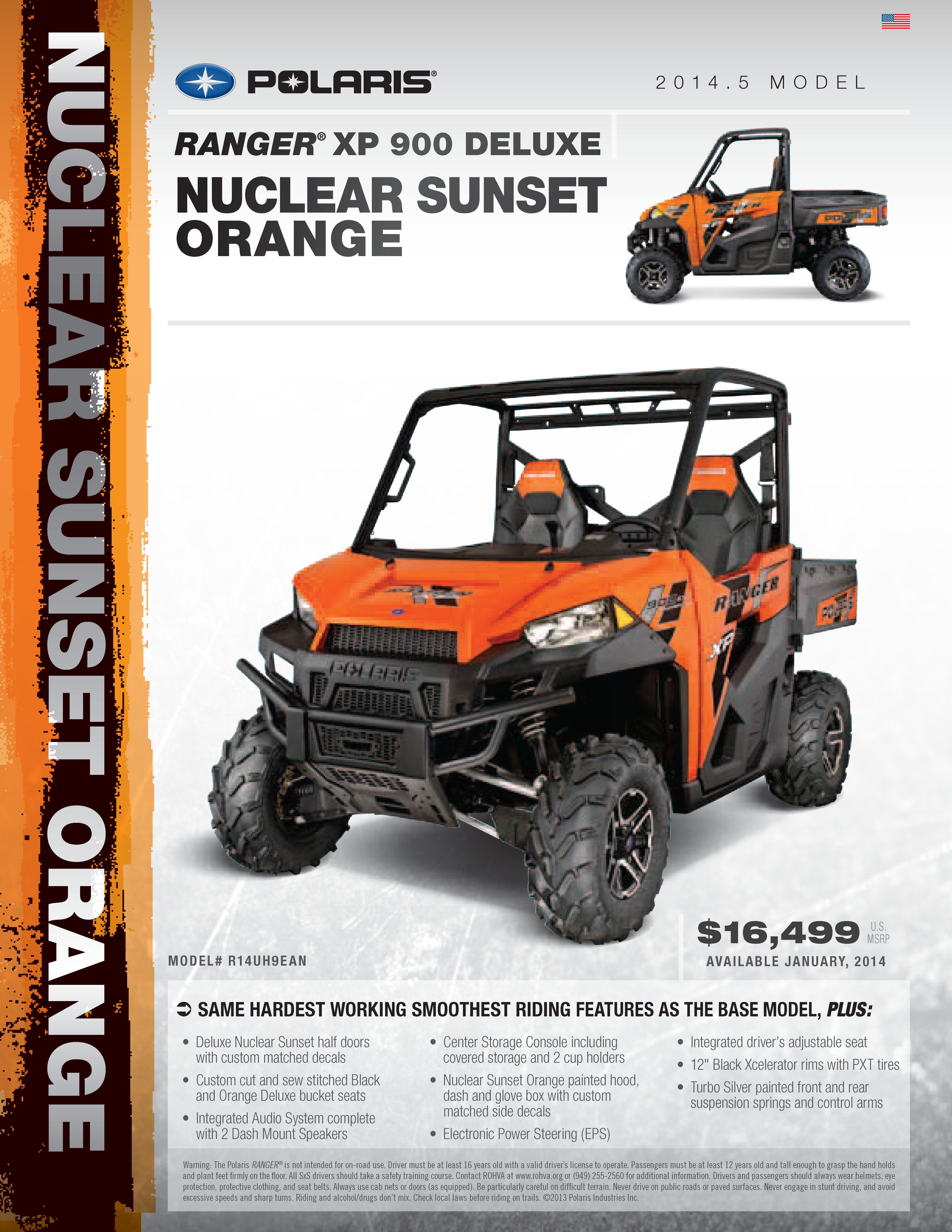 Ranger Xp 900 Deluxe Nuclear Sunset Orange Ranger Polaris Ranger Family Car