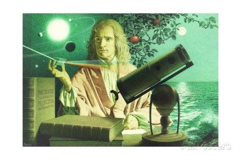 A Portrait of Sir Issac Newton by Jean-Leon Huens Giclée-Druck