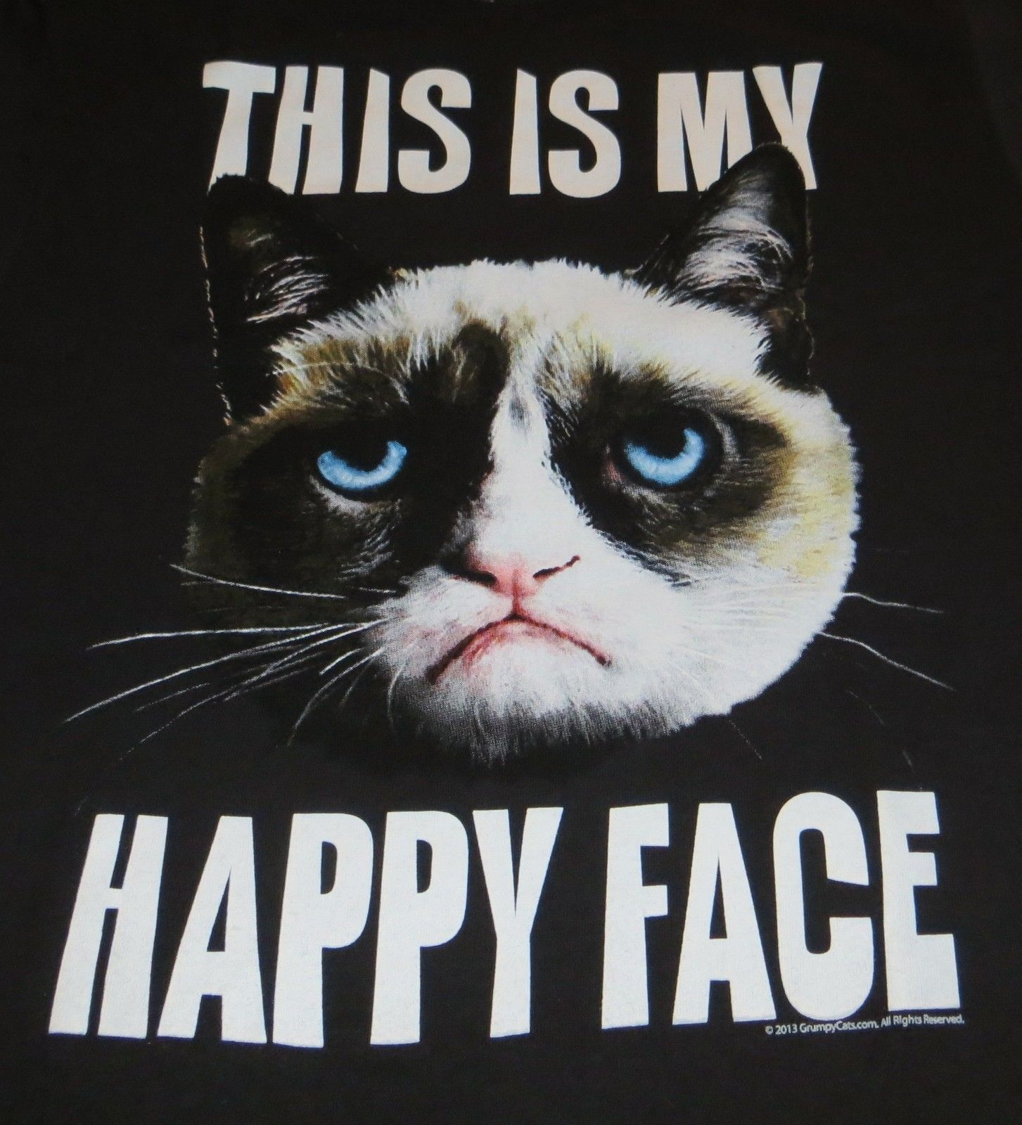 GRUMPY CAT THIS IS MY HAPPY FACE L LARGE T-SHIRT NEW ...
