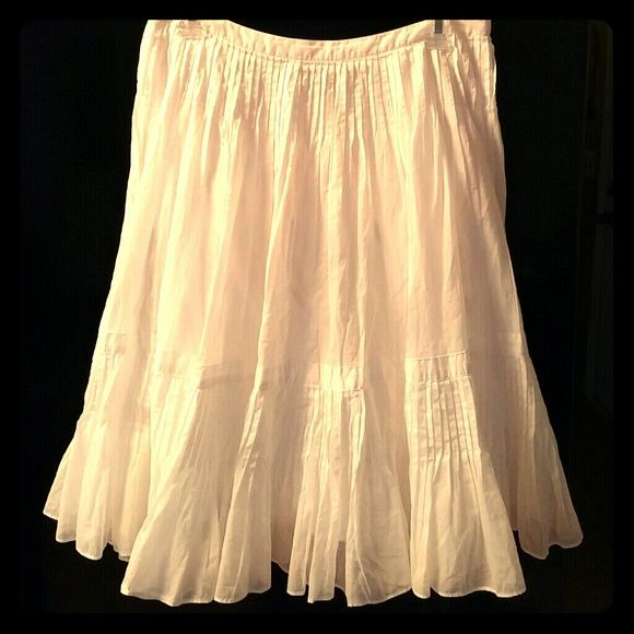 "Talbots Feminine White Boho SkirtNWOT Beautiful white skirt with pintuck pleats underneath waistband & at bottom near hem. Fully lined Side zip & hook  100% cotton 24.5"" Length Talbots Skirts A-Line or Full"