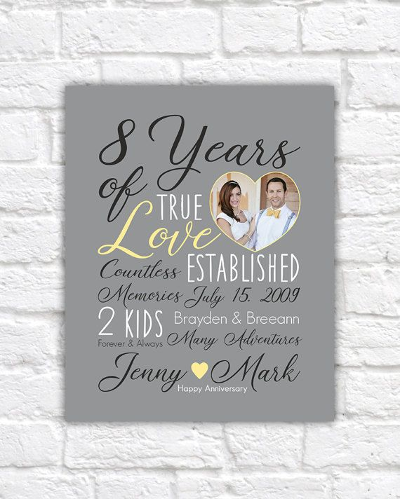 Wedding Anniversary Gift Choose Any Year 8th 8 Years 10 15 Customizable For Him Yellow Gray Wf538