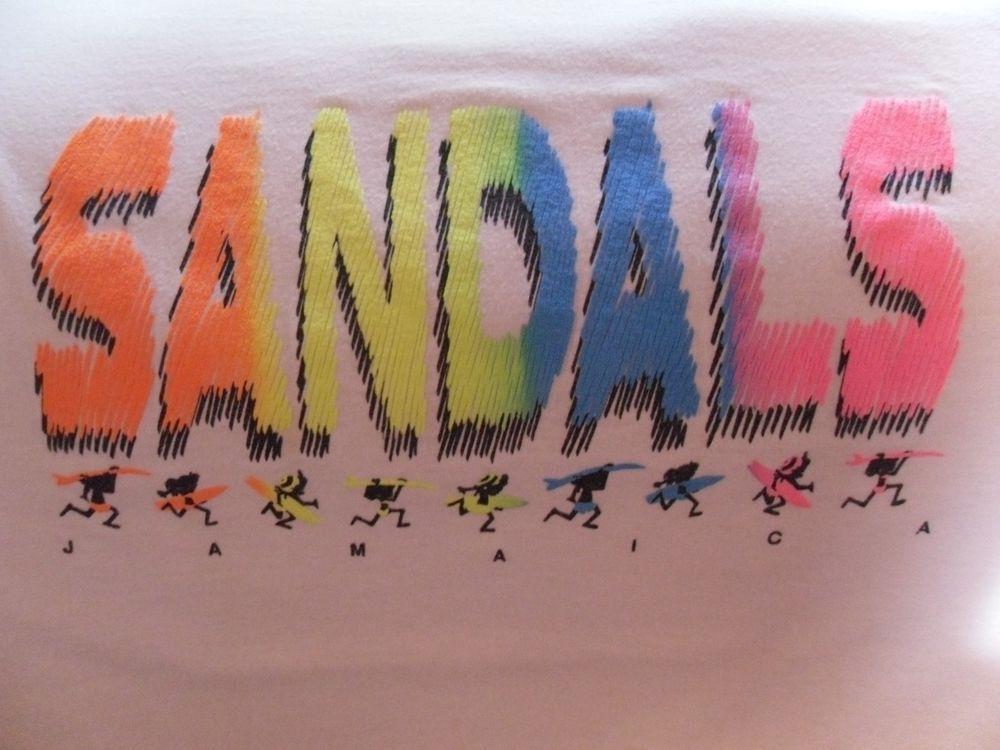 SANDALS RESORT JAMAICA T SHIRT SUNSHINE IRIE FUN MADE IN U S A #ShortSleeve