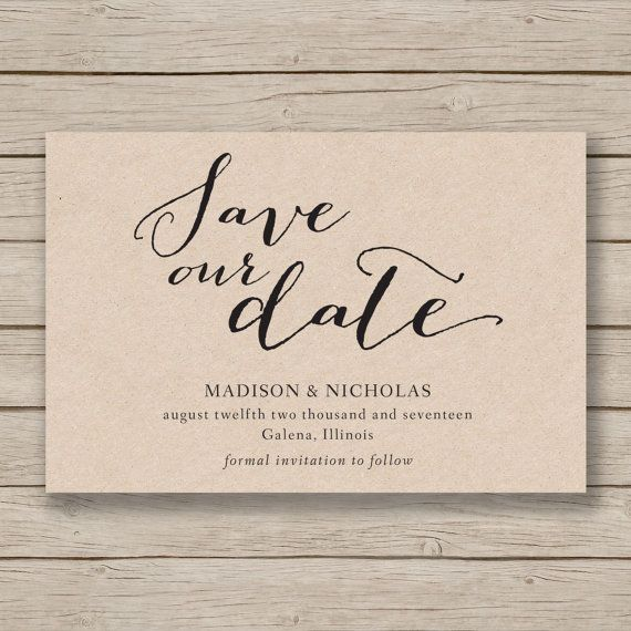 Save The Date Template Printable Save The Date Rustic Save The