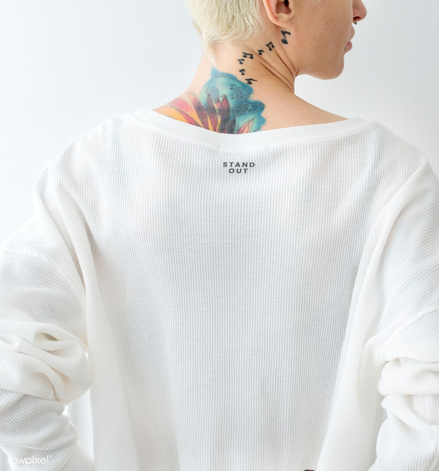 Download Download Premium Psd Of Tattooed Woman Wearing A White T Shirt Mockup Shirt Mockup Tshirt Mockup Design Mockup Free