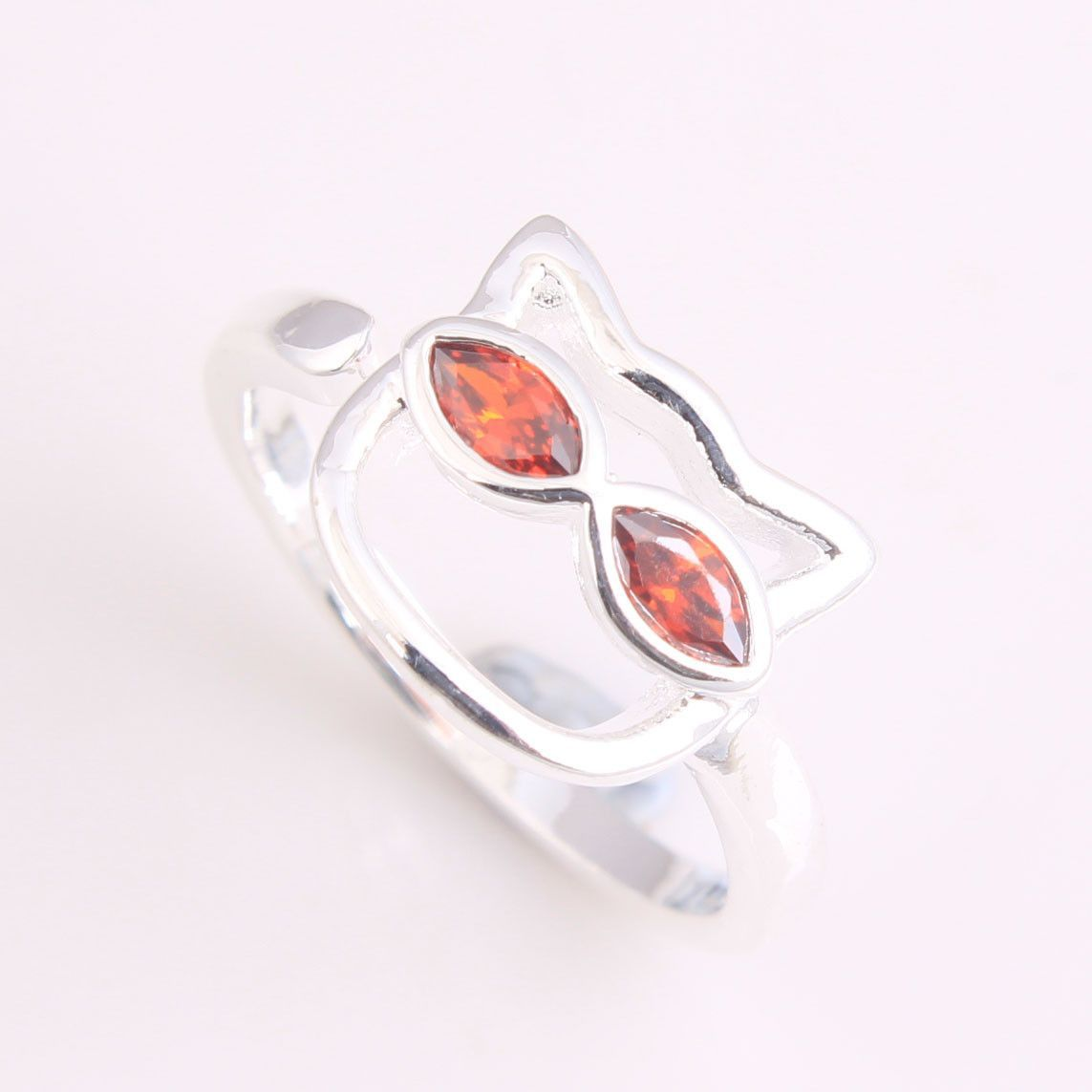 2016 cat with glass eye silver ring paved red zircon for women free drop shipping vintage jewelry for wedding gift wholesale
