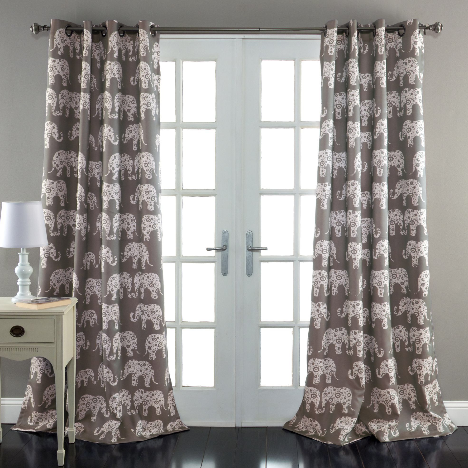 Office window coverings  elephant parade window curtain panel office  our house is a very