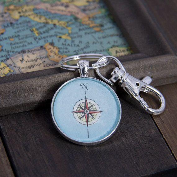 Compass Keychain 1954 Map Vintage Map Pendant Silver Keychain Wanderlust Gift Arrow Charm Travel Gift Map G Compass Keychain Silver Keychain Map Jewelry