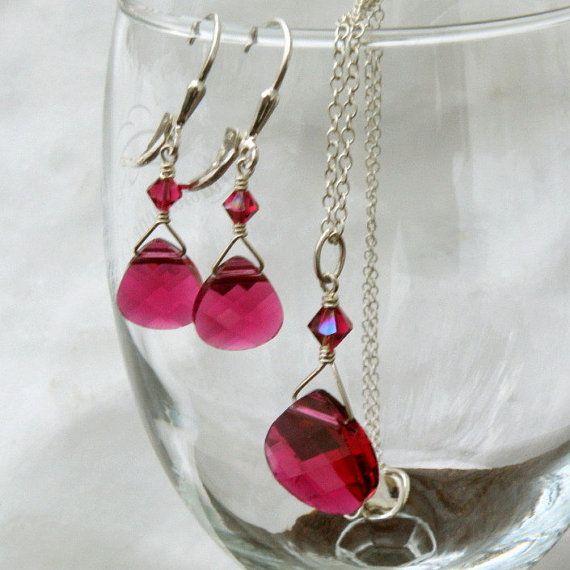 Ruby Swarovski Crystal Jewelry Set Teardrop Pendant Necklace and