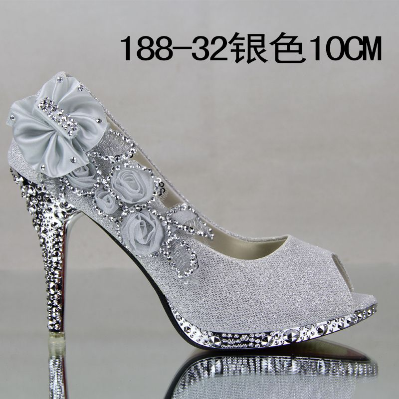Womens Shoes Big Flower Red Wedding High Heeled Silver Gold Bridal Pumps For